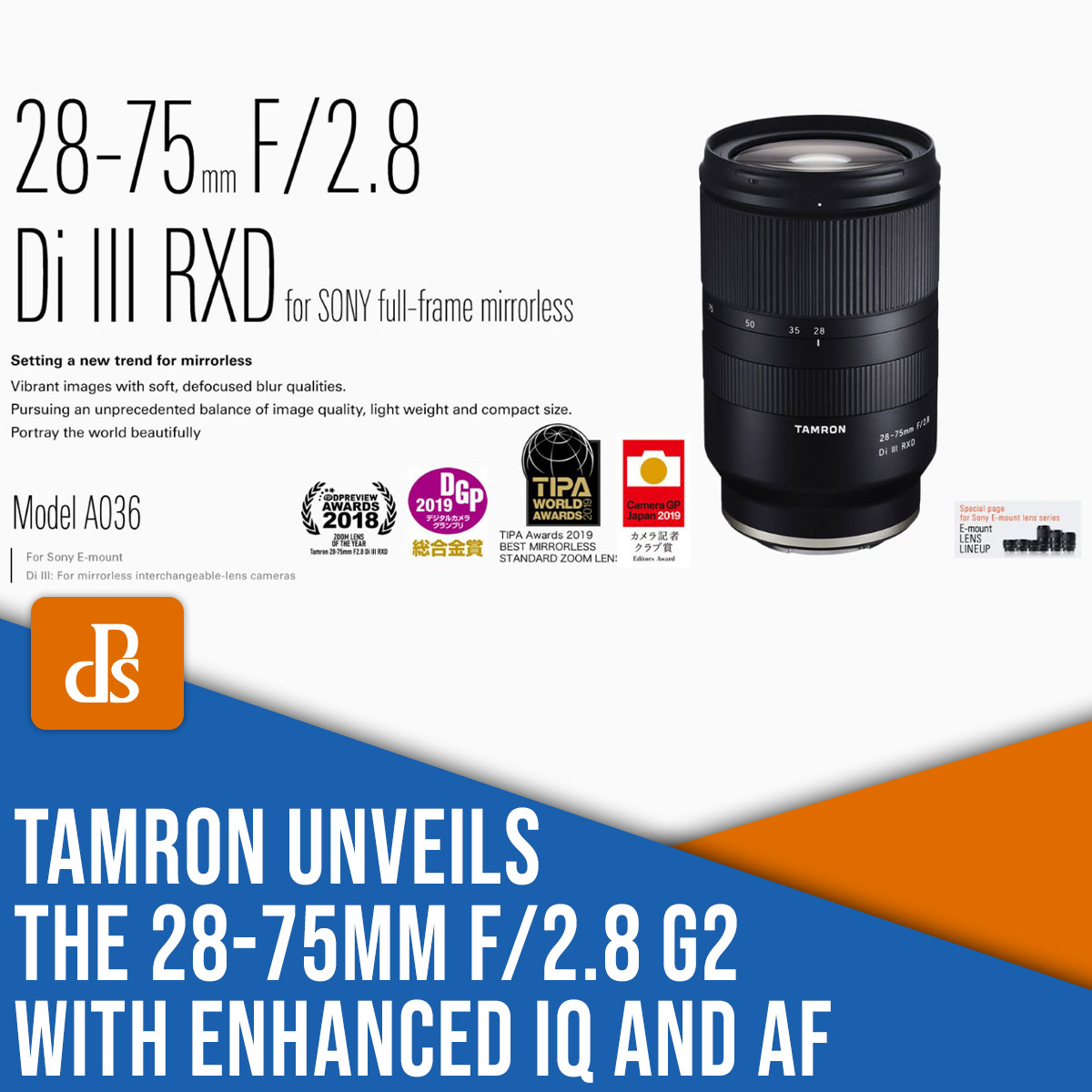 Tamron unveils the 28-75mm f/2.8 G2 with enhanced IQ and AF