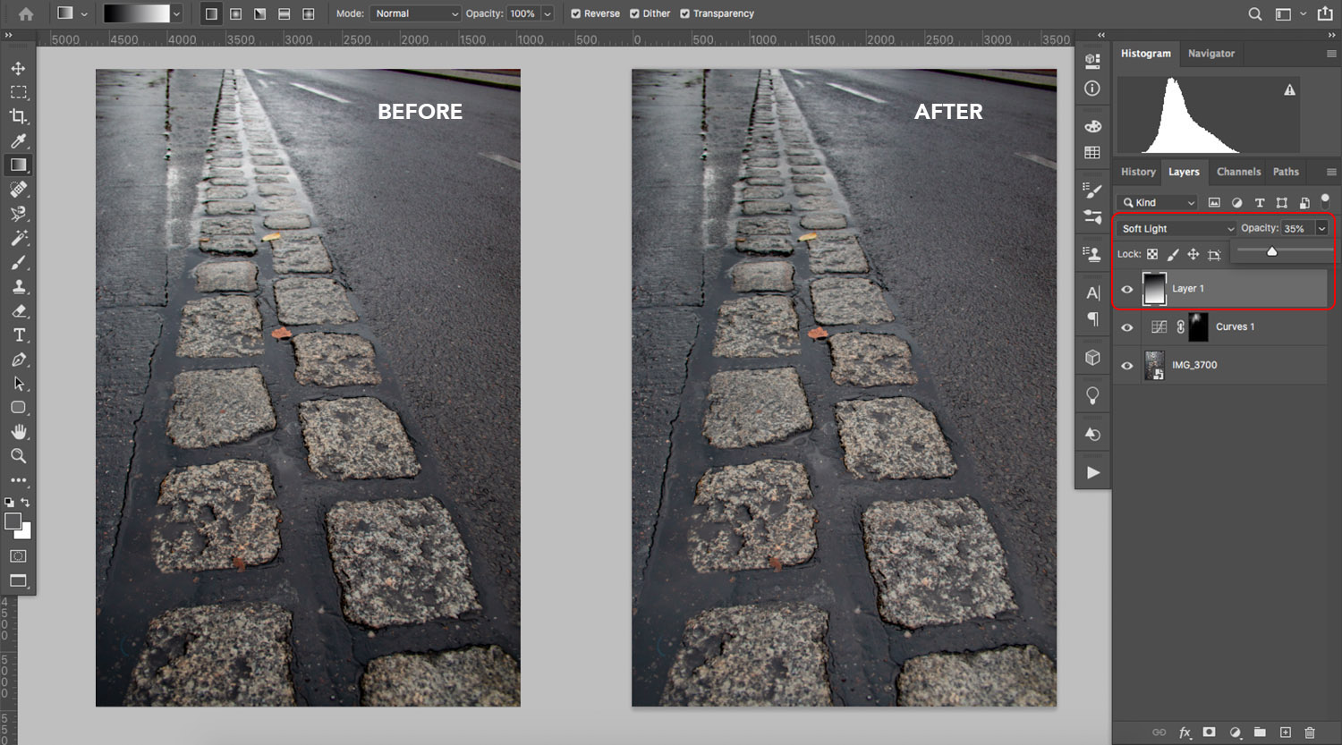 Before/after of glare removal in Photoshop