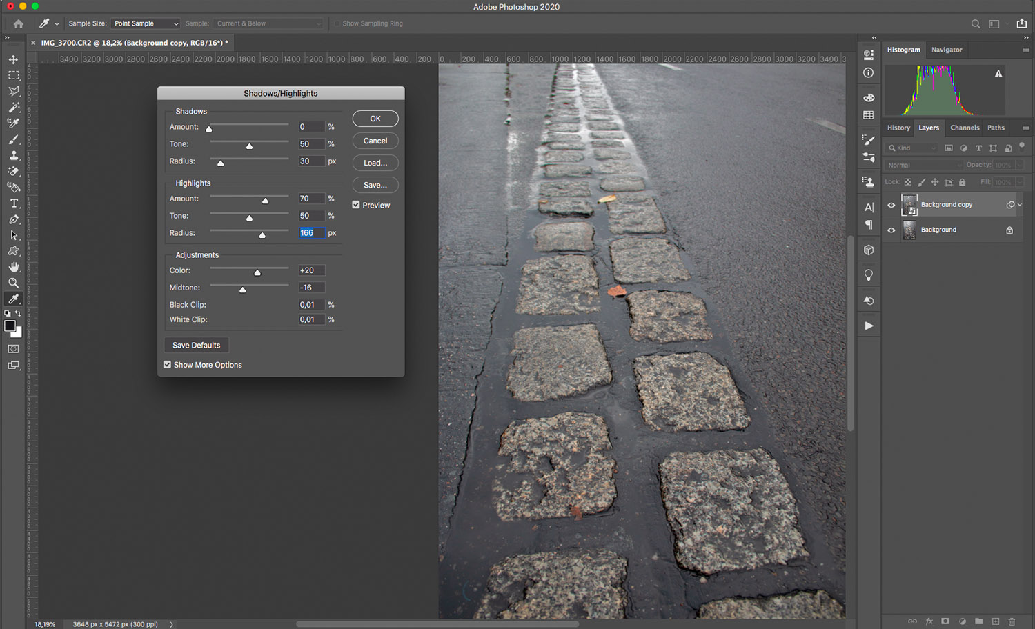 How to remove glare using shadows/highlights