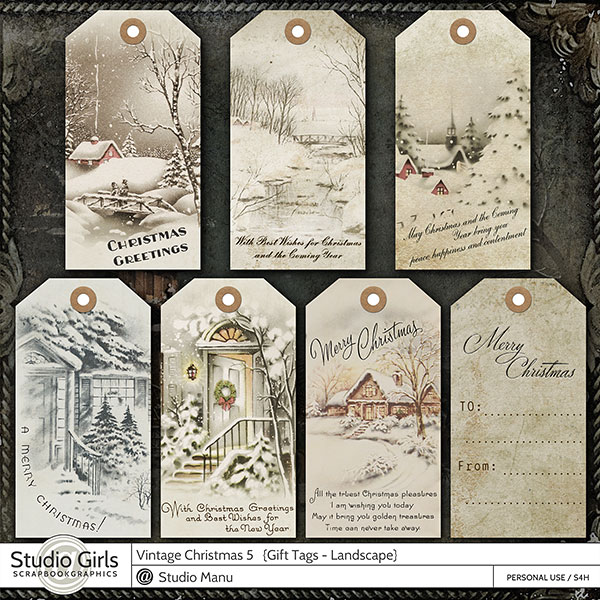 Old Fashioned Vintage Christmas Gift Tags Photobook