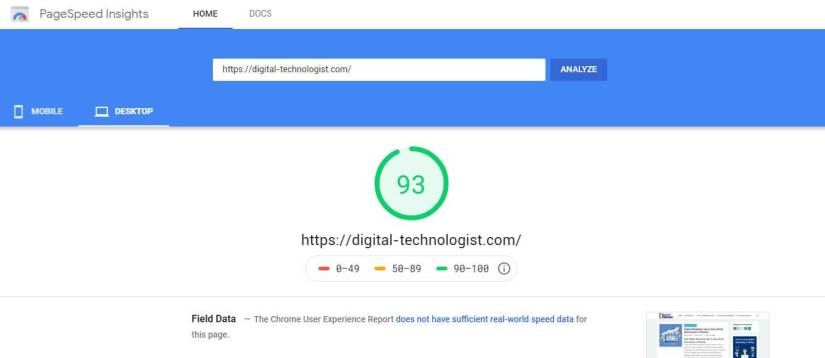 SEO Strategies for new websites - Page speed insight tool