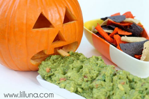 8. Pumpkin Guac With Halloween Tortilla Chips Perfect For Halloween Avocado Easy Hallowen Food Ideas Digital Train