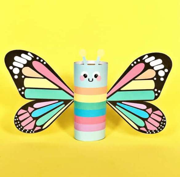 20. Rainbow Butterfly Printable Paper Tube Craft