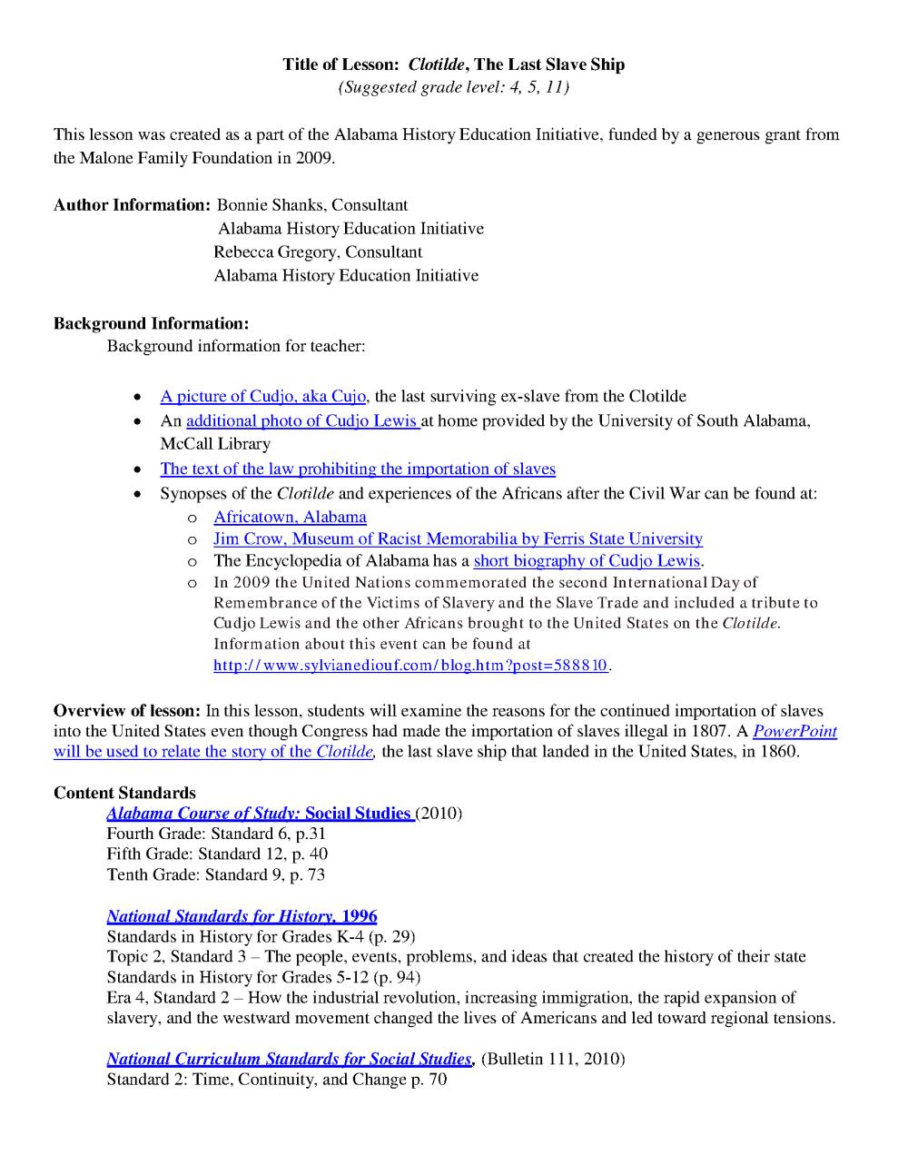 medium resolution of Social Studies Standards Grade 5 Alabama
