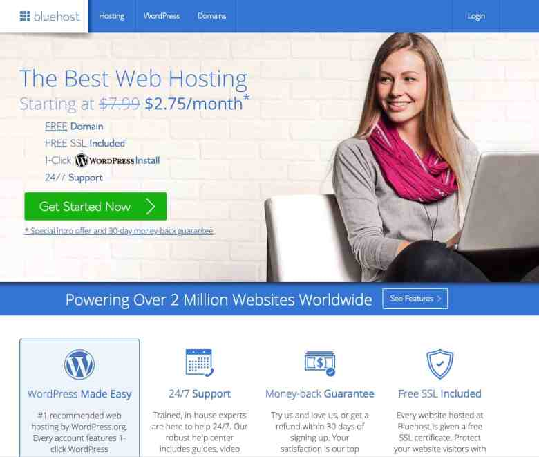 homepage di bluehost