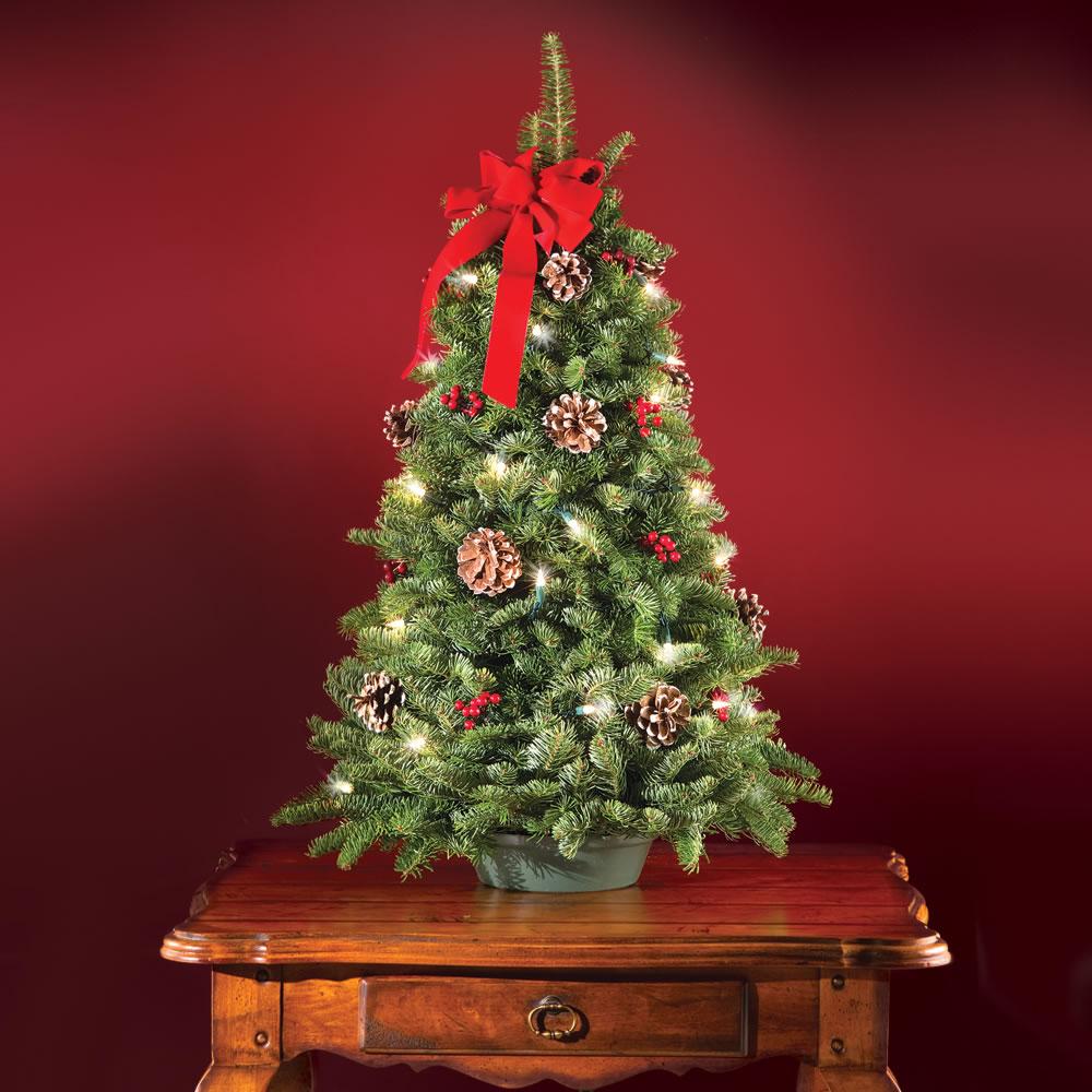 The Freshly Cut Prelit Tabletop Tree Hammacher Schlemmer