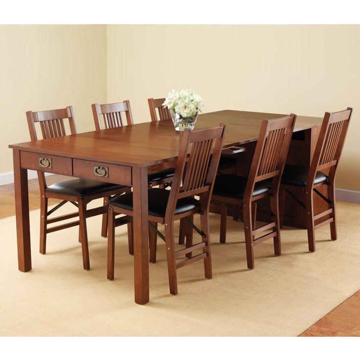 the expanding dining table hutch - hammacher schlemmer