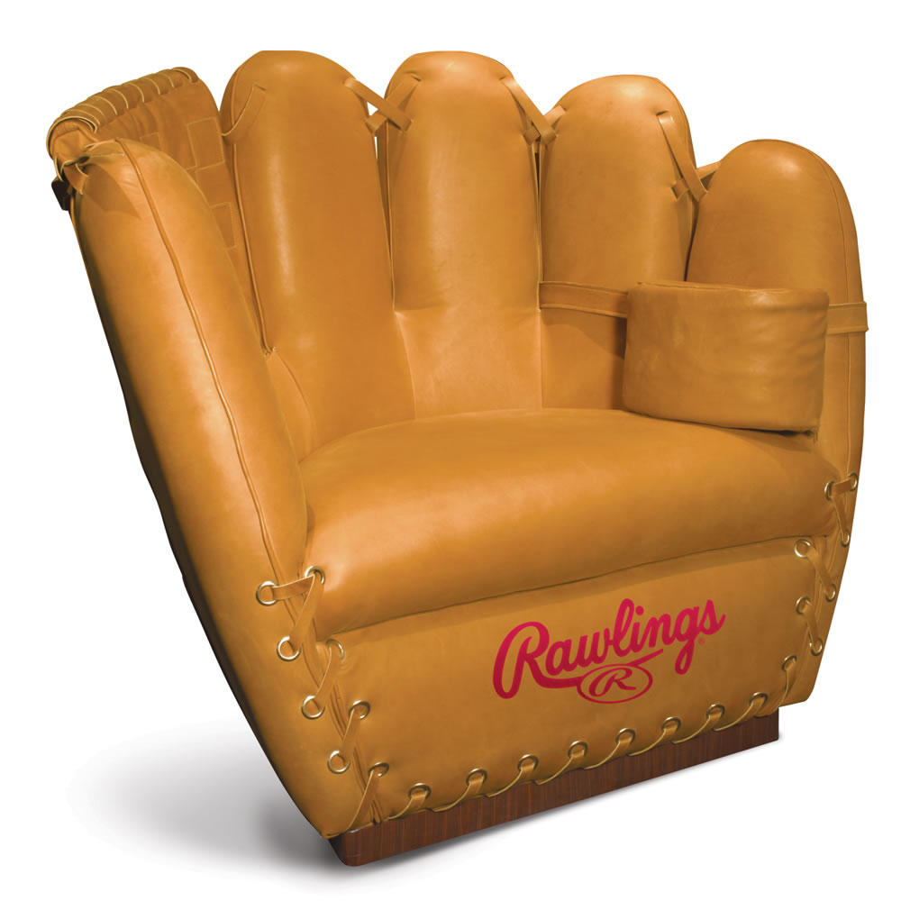 The Authentic Baseball Glove Leather Chair  Hammacher