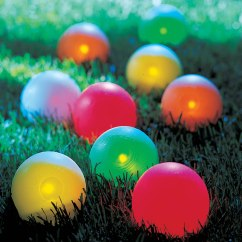 Outdoor Stackable Chairs Canada White Folding For Weddings The Lighted Bocce Ball Set - Hammacher Schlemmer