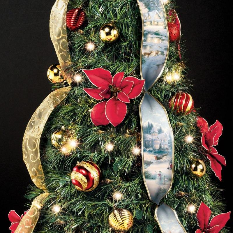 The Thomas Kinkade Pop Up 6 Foot Christmas Tree Zoom On Poinsettias