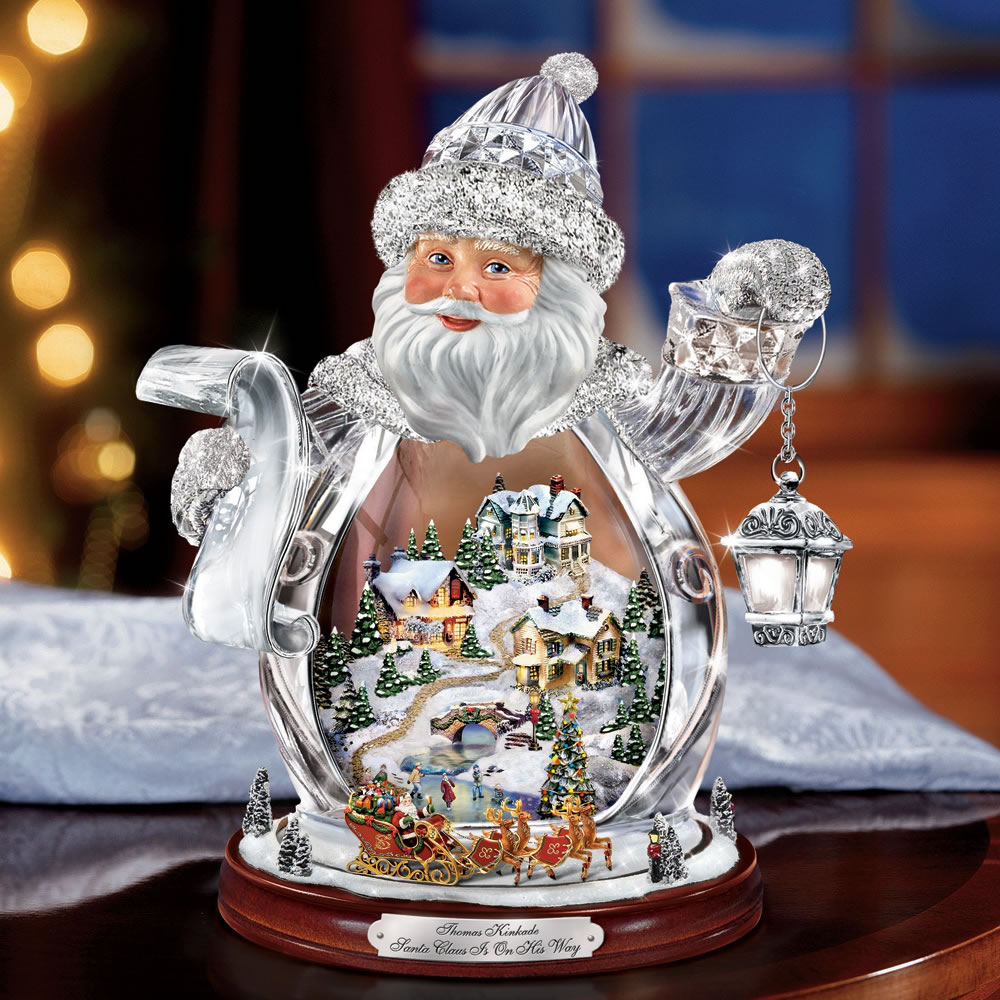 The Thomas Kinkade Crystal Santa Claus Hammacher Schlemmer