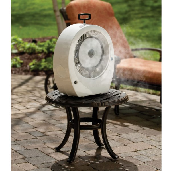 Hoseless Tabletop Misting Fan Outdoor Patio Lowers Temp 20 Covers 250 Sq. Ft