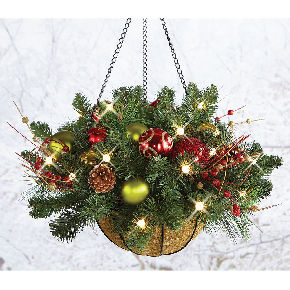 Outdoor christmas lighted ball ornaments for Outside house ornaments
