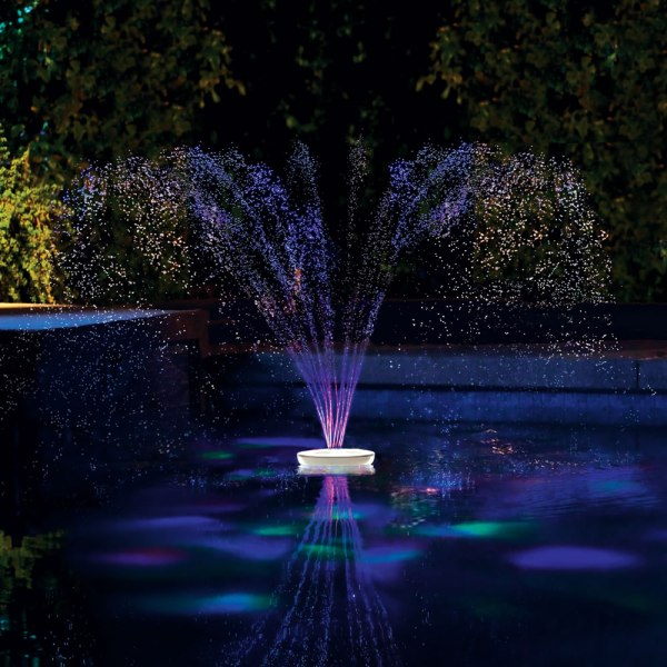 Floating Lighted Pool Fountain - Hammacher Schlemmer
