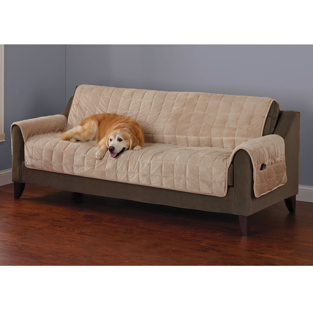 sofa coverings dogs sagging bed cushion support the non slip furniture protecting pet covers hammacher schlemmer cement cover with dog