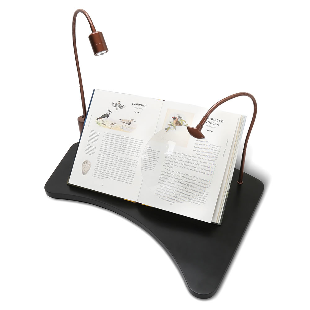 The Lap Desk With Magnifier And Light  Hammacher Schlemmer