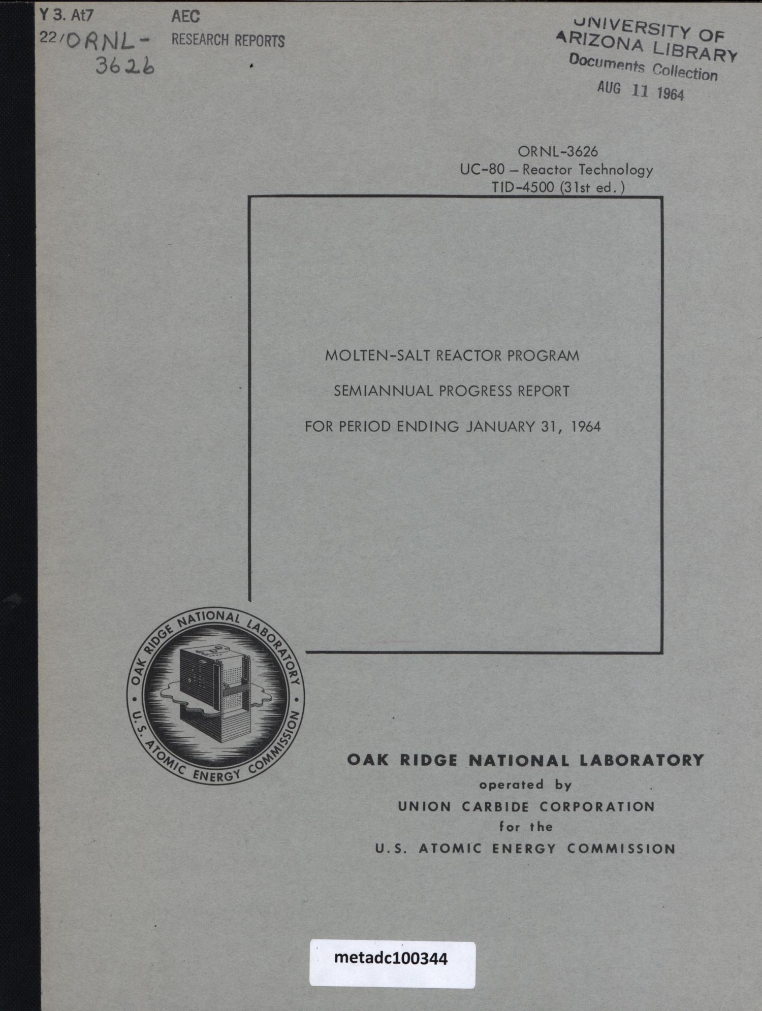 Molten-Salt Reactor Program Semiannual Progress Report