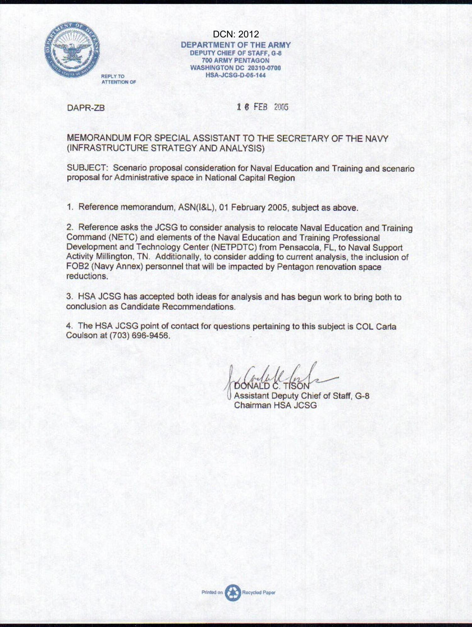 Memo Concerning Scenario Proposal Consideration For Naval