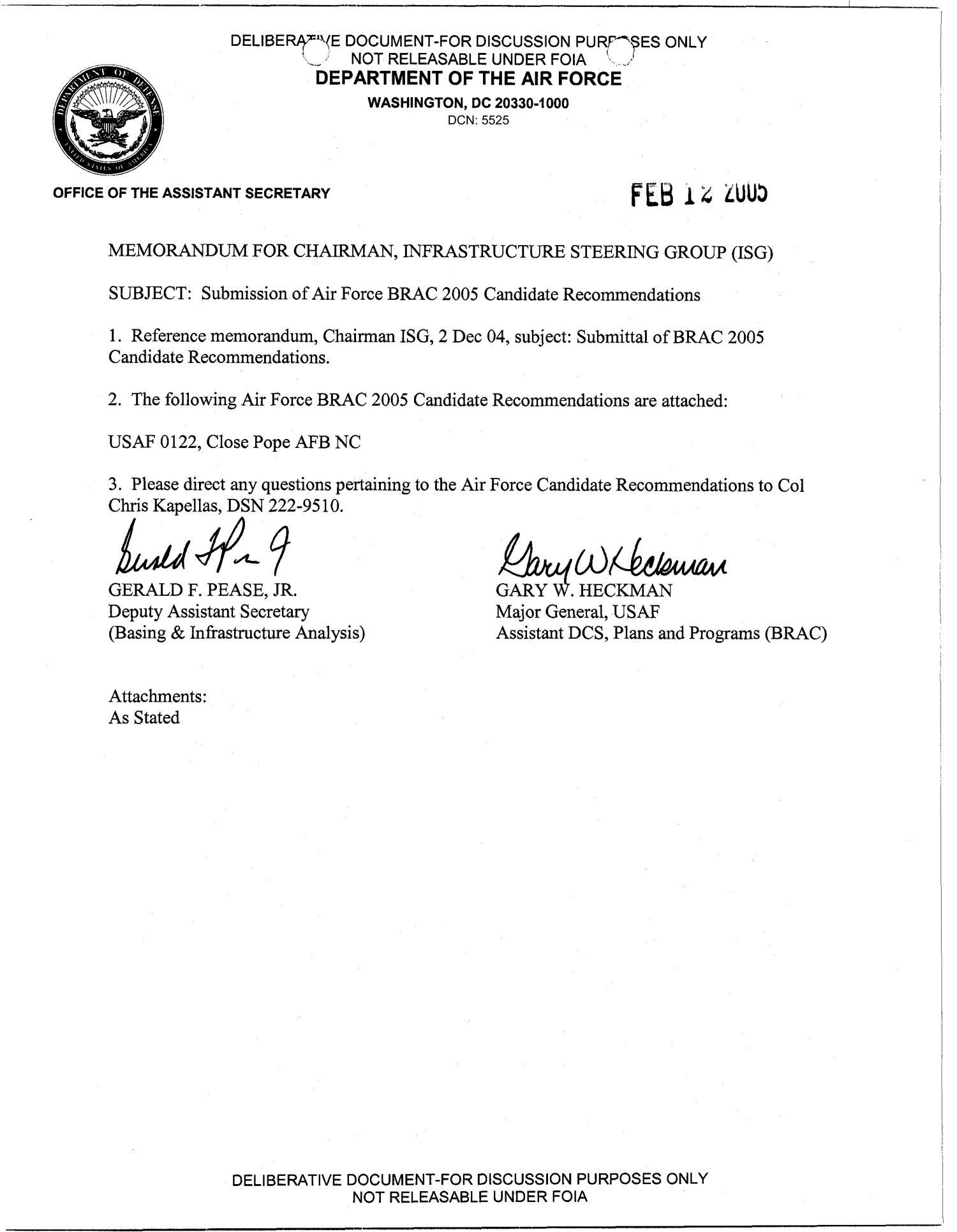 BRAC Transmittal Candidate Recommendation Letter USAF 0122  Digital Library