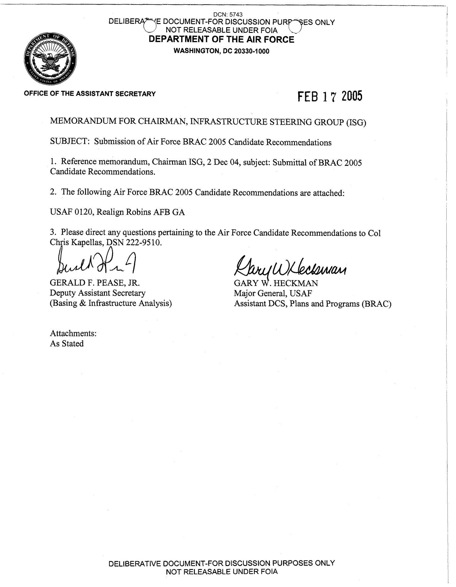 BRAC Transmittal Memo USAF 0120 433  Digital Library