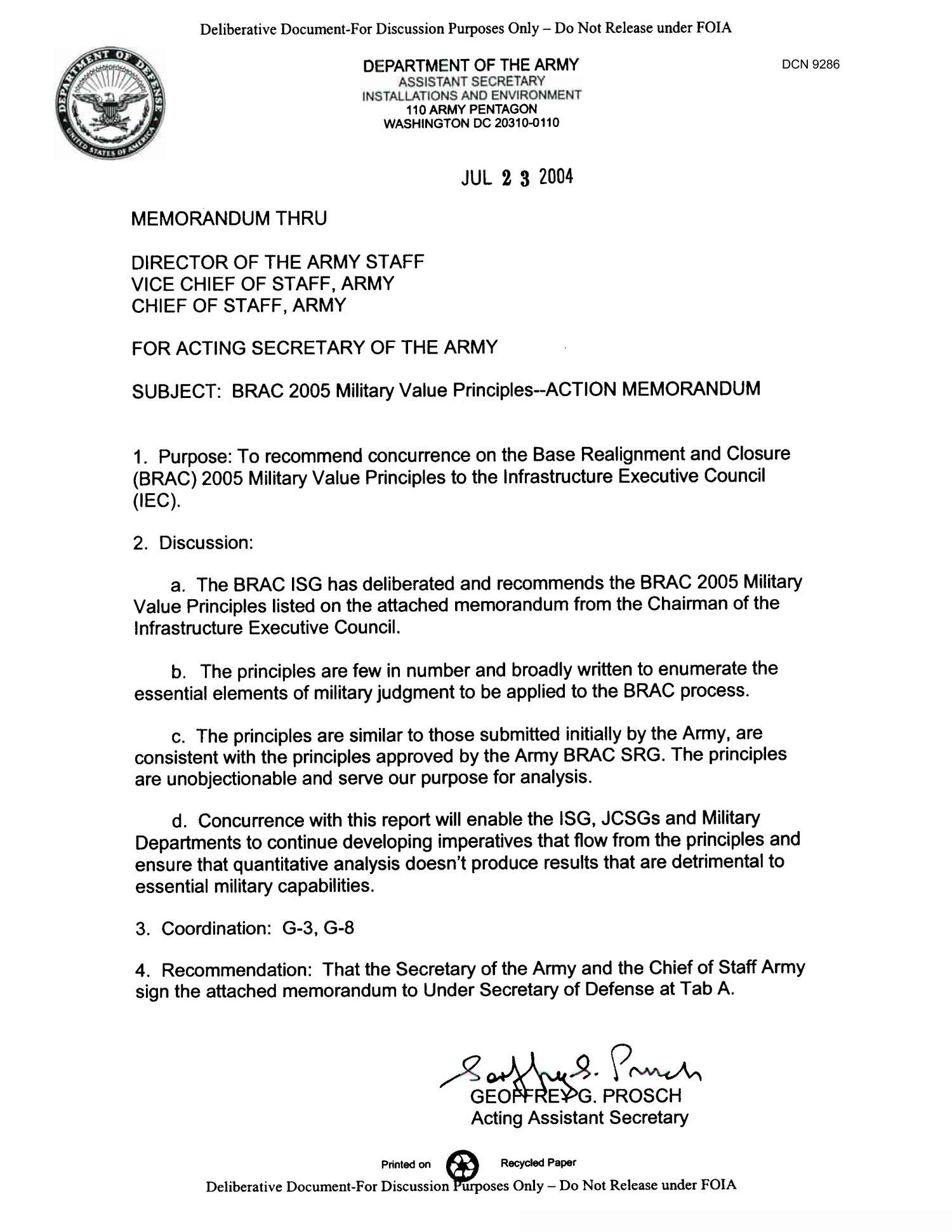 Memorandum For The Acting Secretary Of The Army BRAC 2005