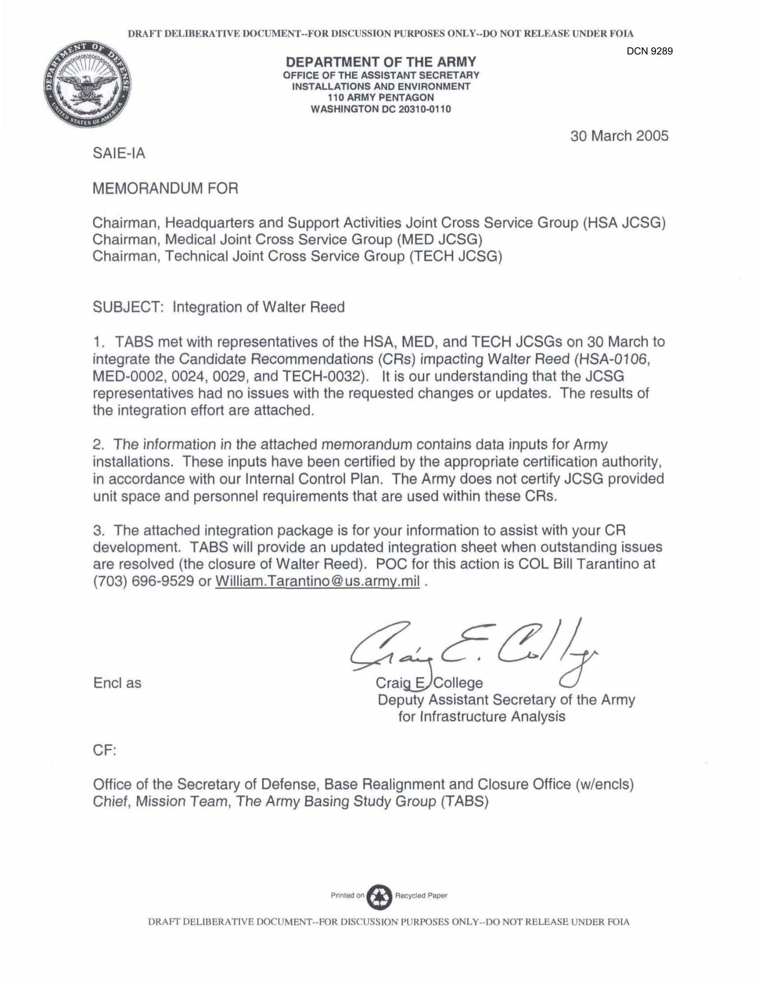 Department of the Army Memorandum  Integration of Walter