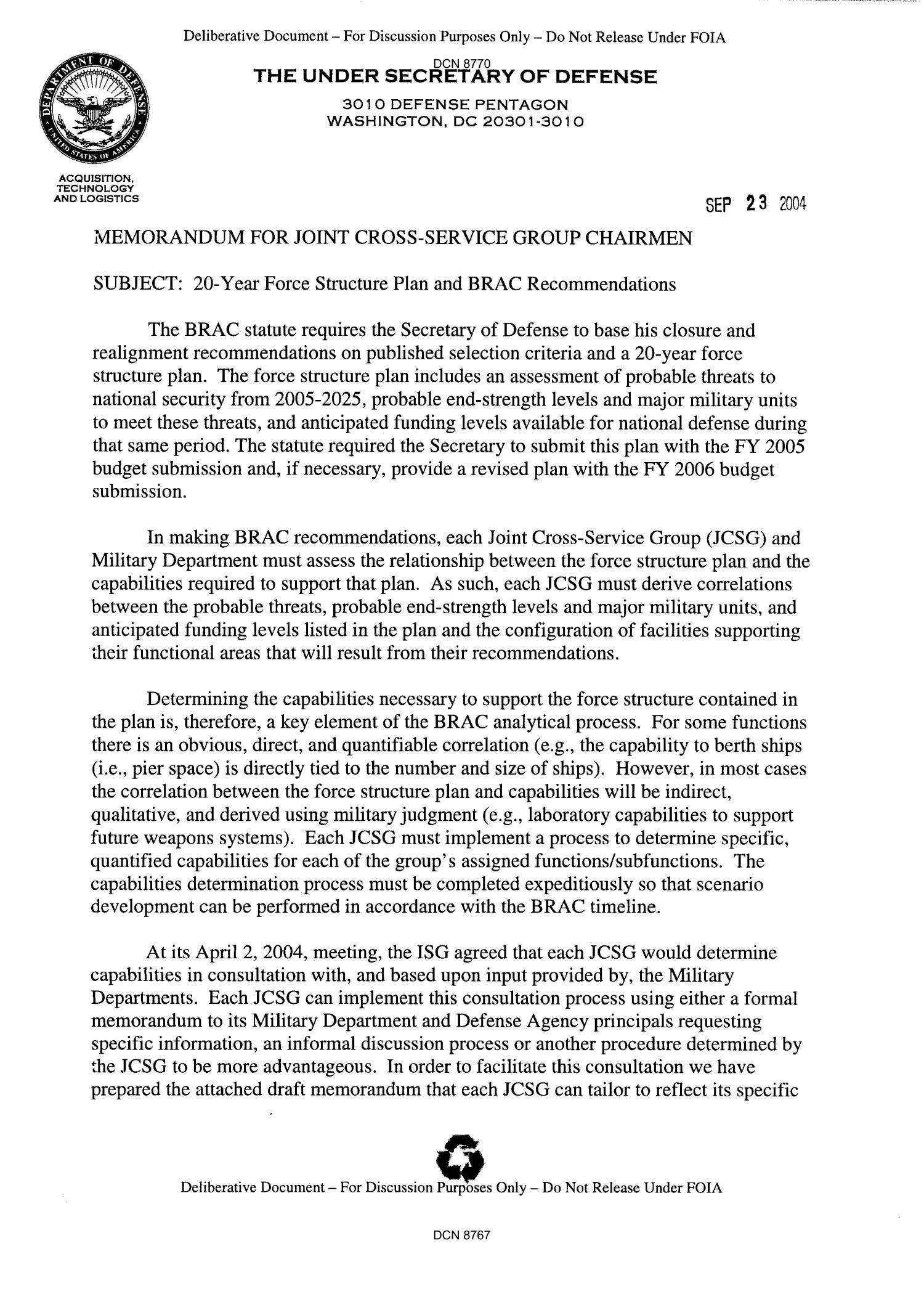 Dept of the Army Force Structure  Memo 20Year Force