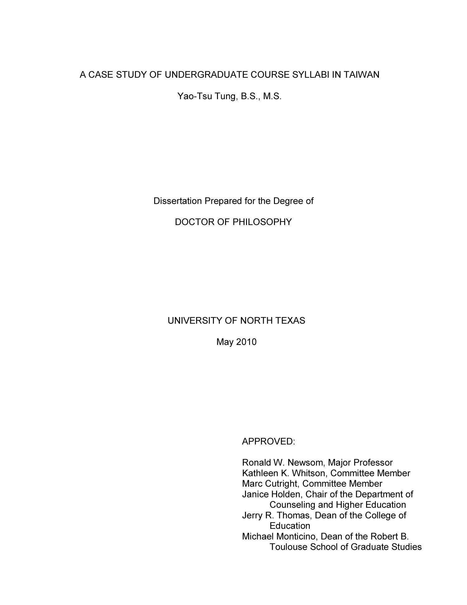 A Case Study Of Undergraduate Course Syllabi In Taiwan