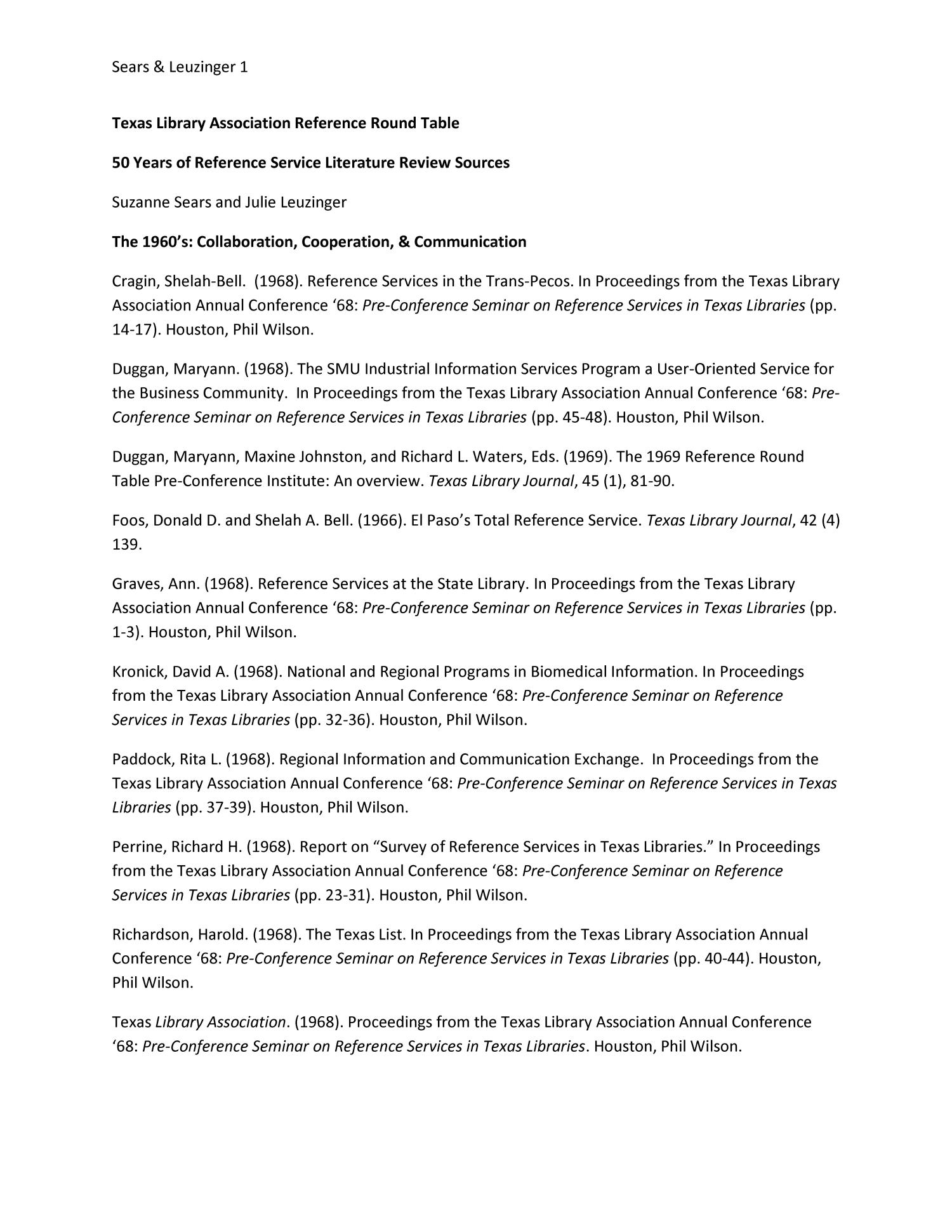 50 Years Of Reference Service Literature Review Sources