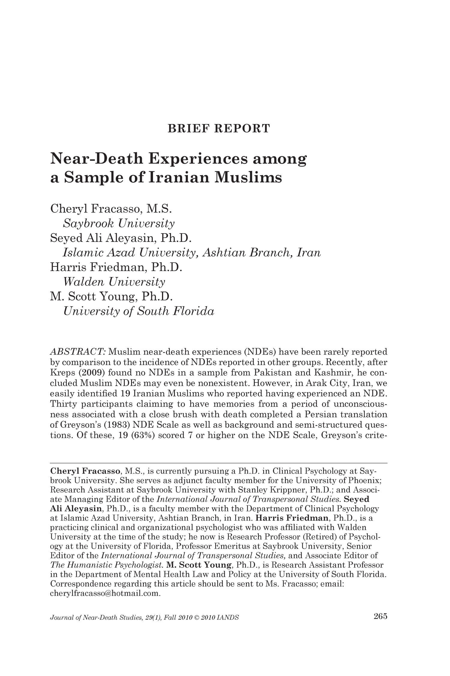 Brief Report Near Death Experiences Among A Sample Of
