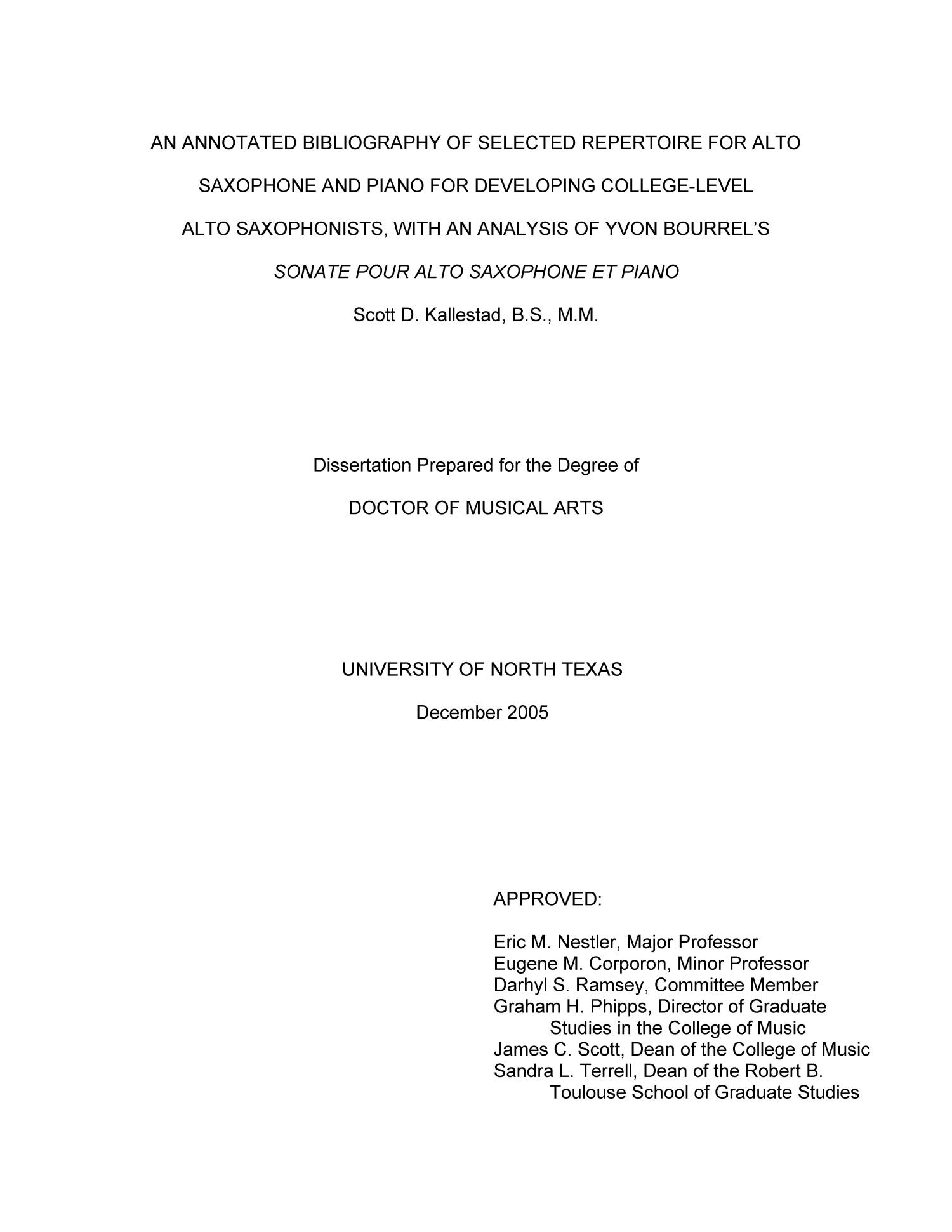 An Annotated Bibliography of Selected Repertoire for Alto
