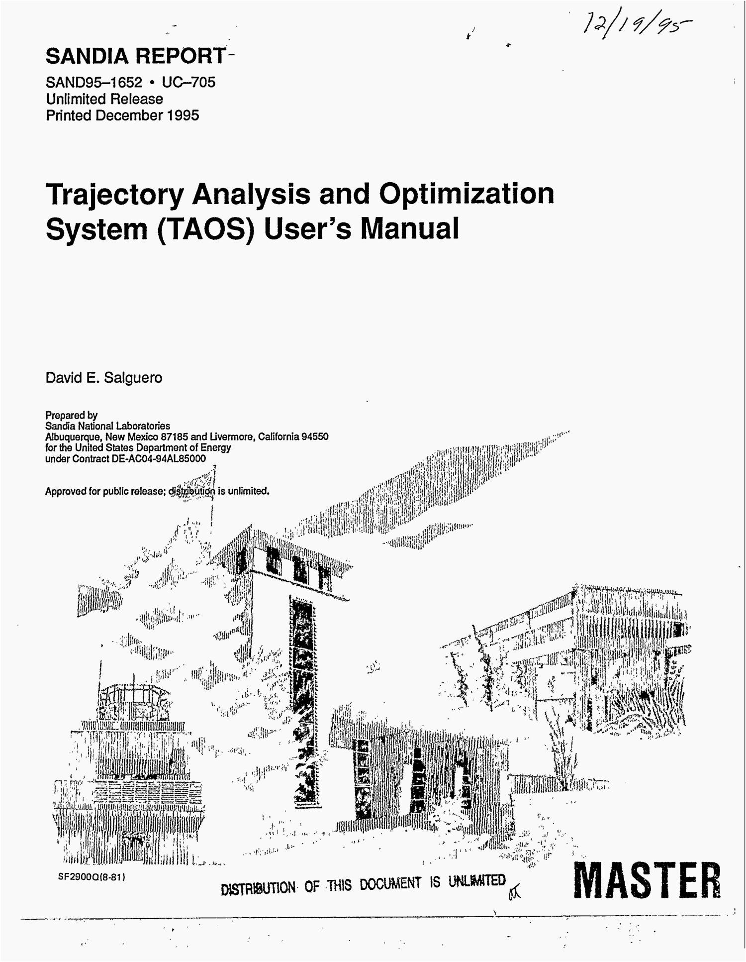Trajectory analysis and optimization system (TAOS) user`s