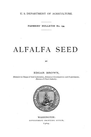 Alfalfa seed. : UNT Digital Library