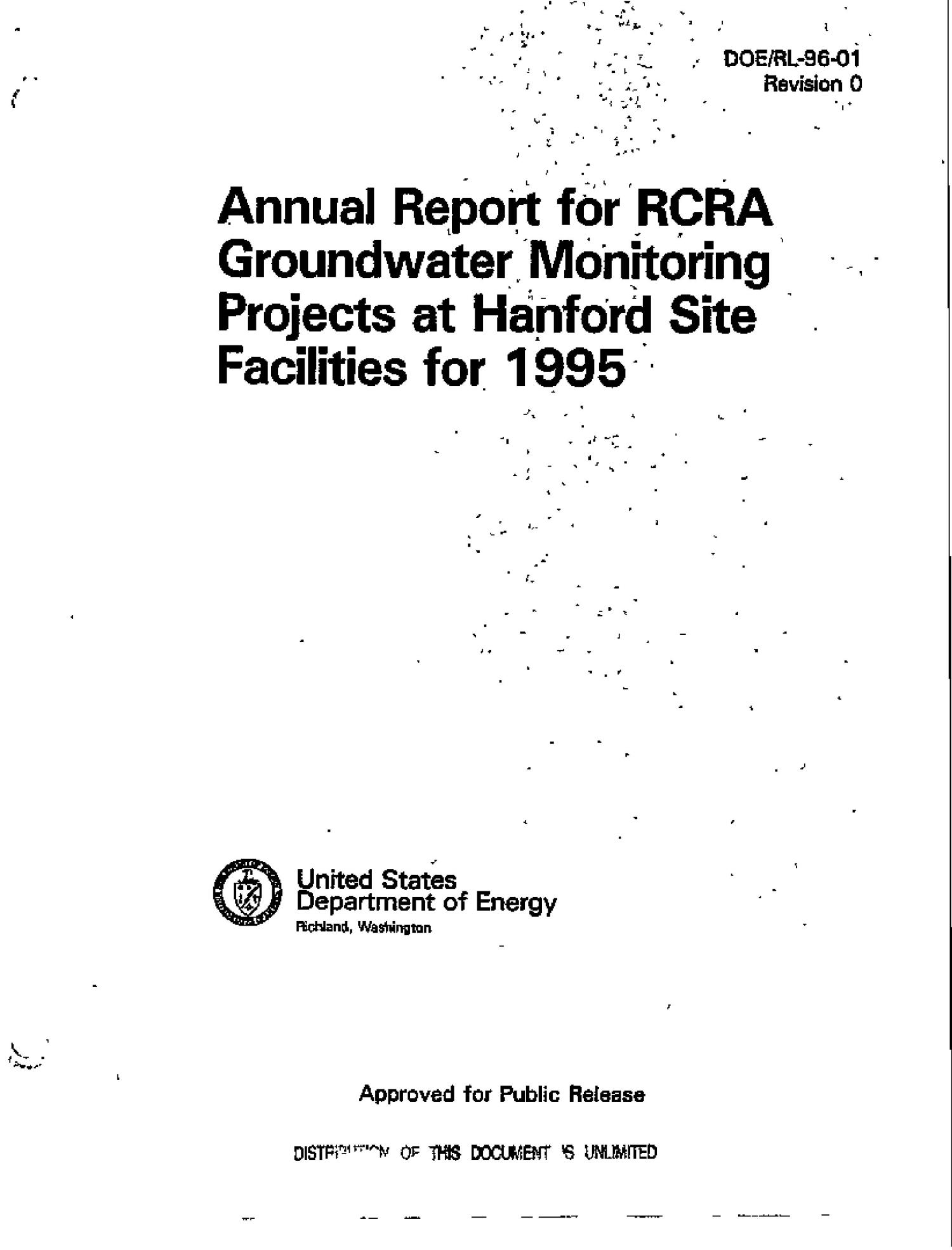 Annual report for RCRA groundwater monitoring projects at