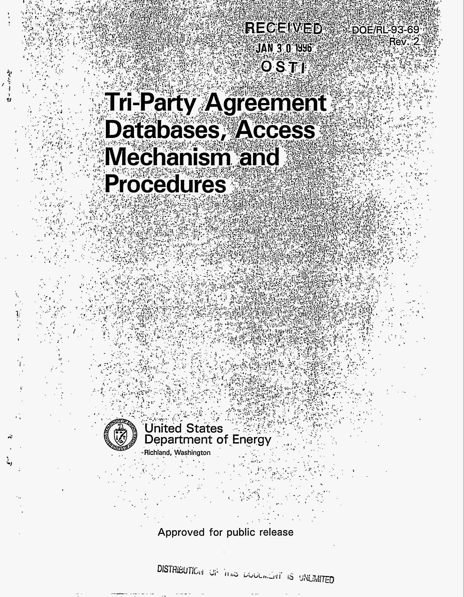 Tri-party agreement databases, access mechanism and