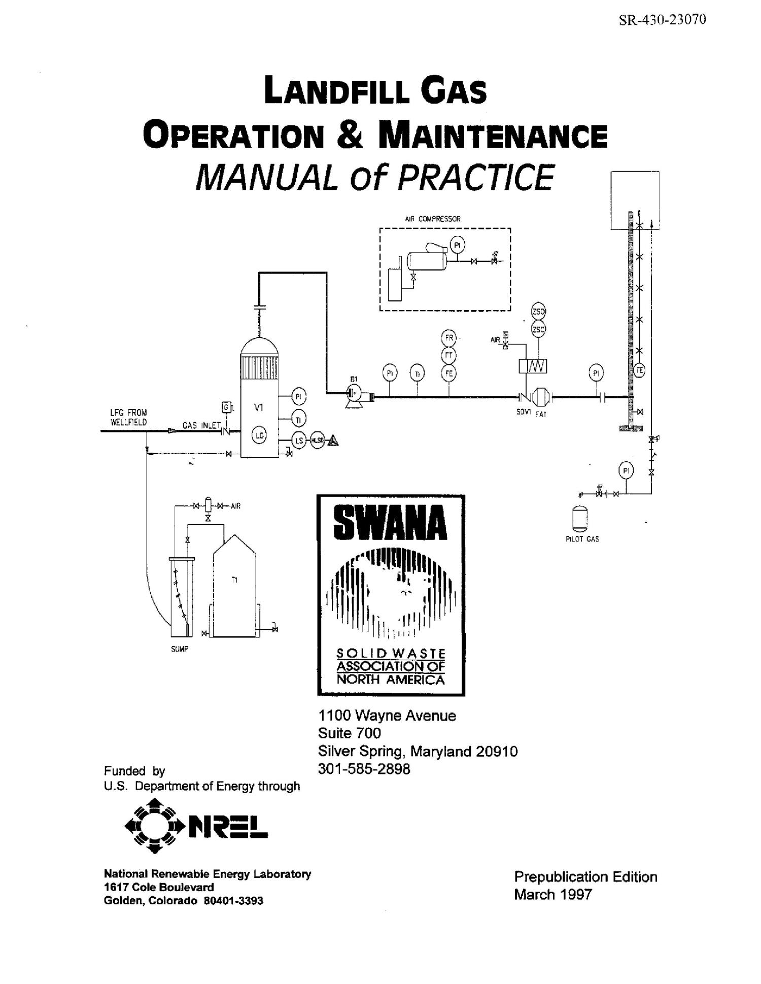 Landfill gas operation and maintenance manual of practice
