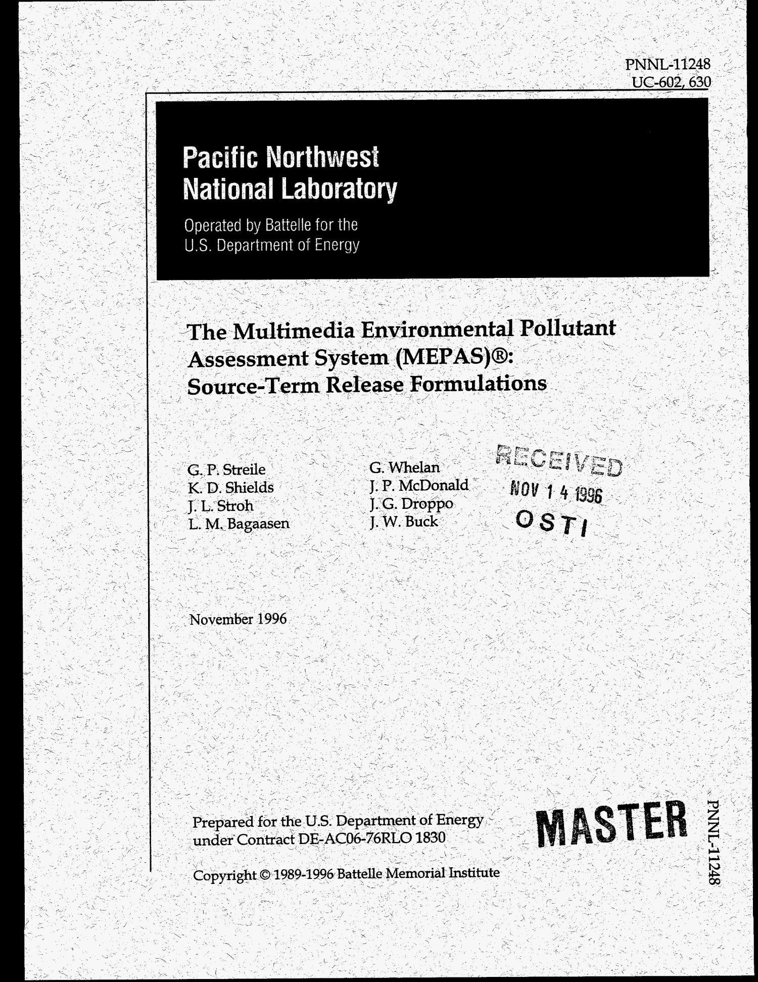 The Multimedia Environmental Pollutant Assessment System