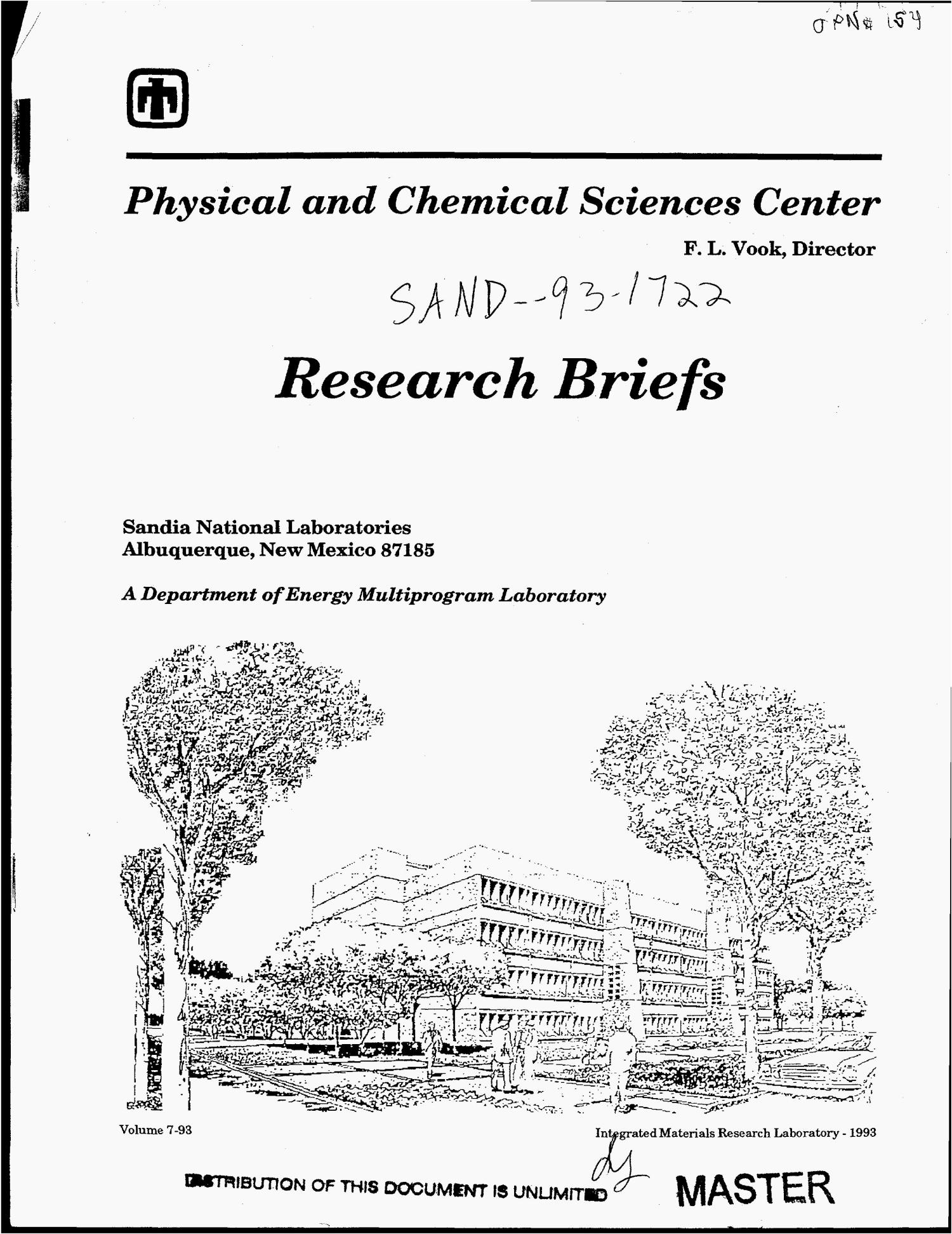 Research briefs of the Physical and Chemical Sciences
