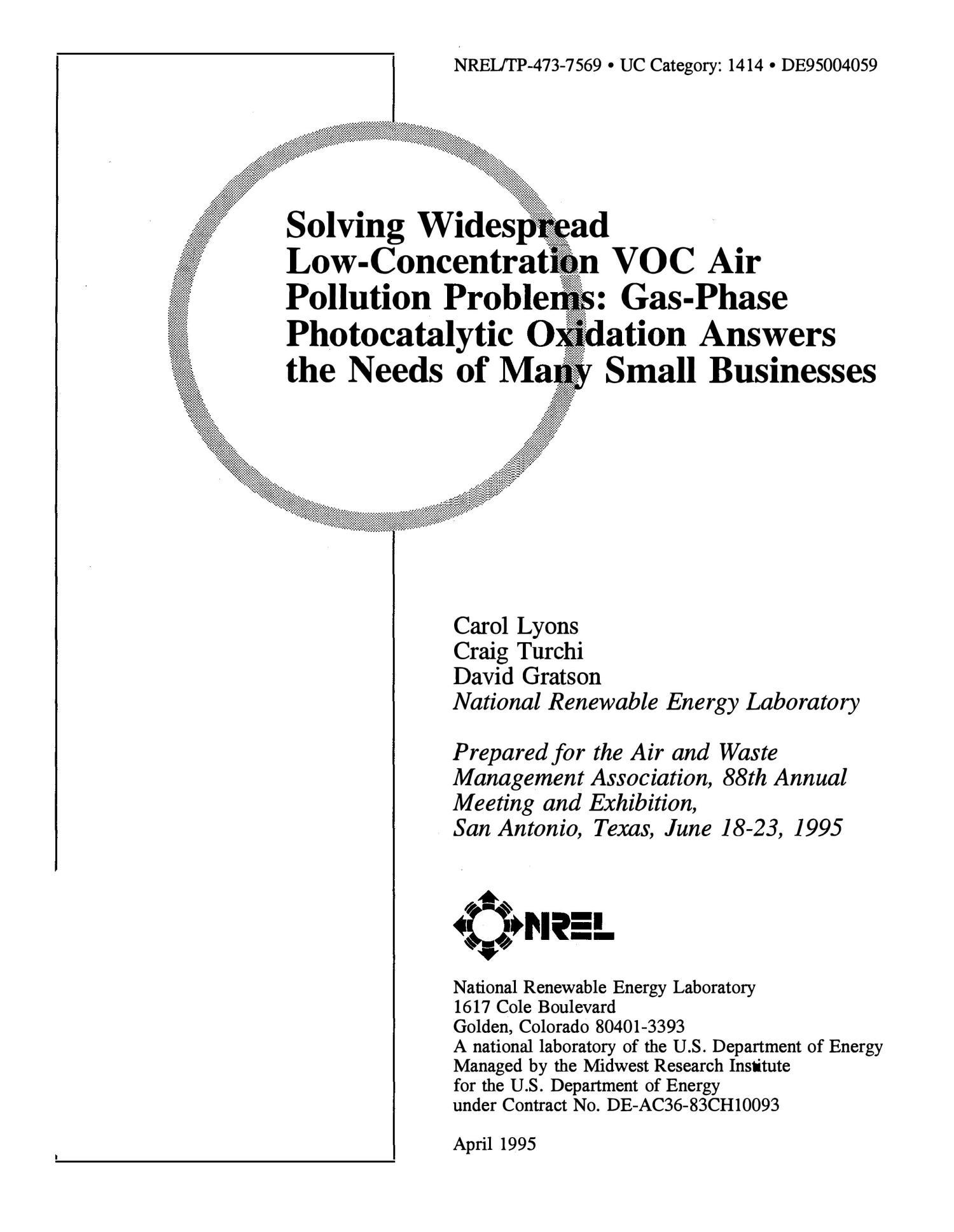 Solving widespread low-concentration VOC air pollution