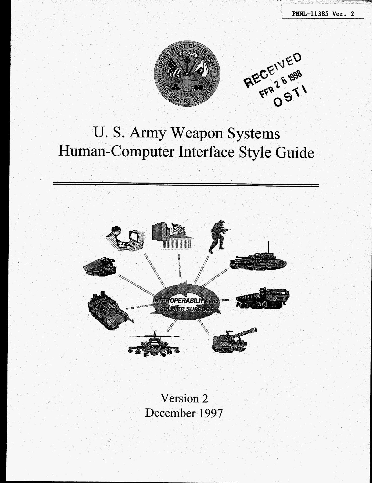 U.S. Army weapon systems human-computer interface style