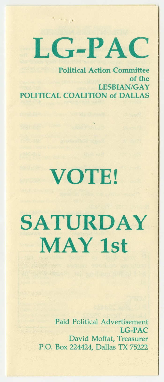 Primary View Of Object Titled '[Brochure: Vote Saturday May 1St - Lesbian/