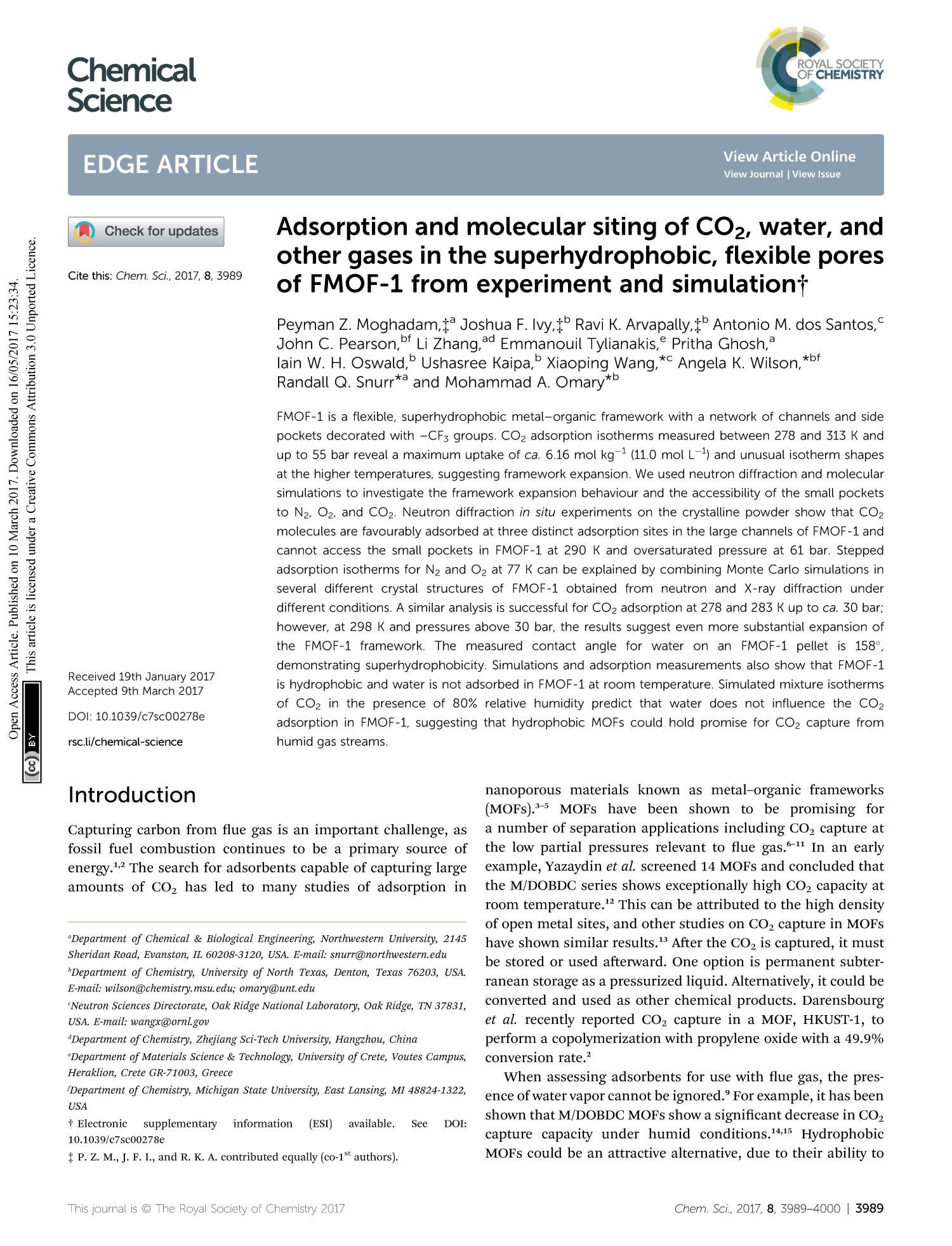 adsorption and molecular siting
