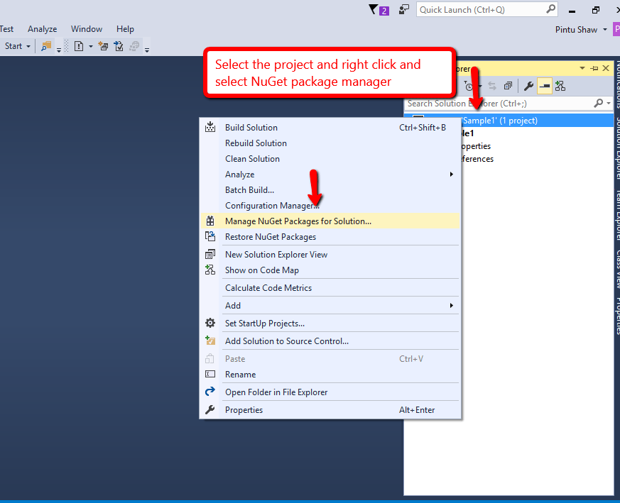 Step2 select package manager