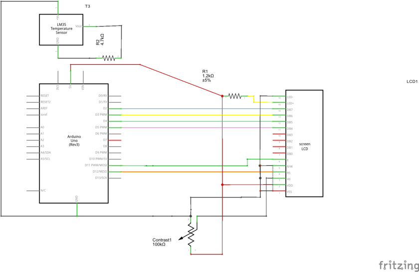 LCD display Arduino UNO Schematic