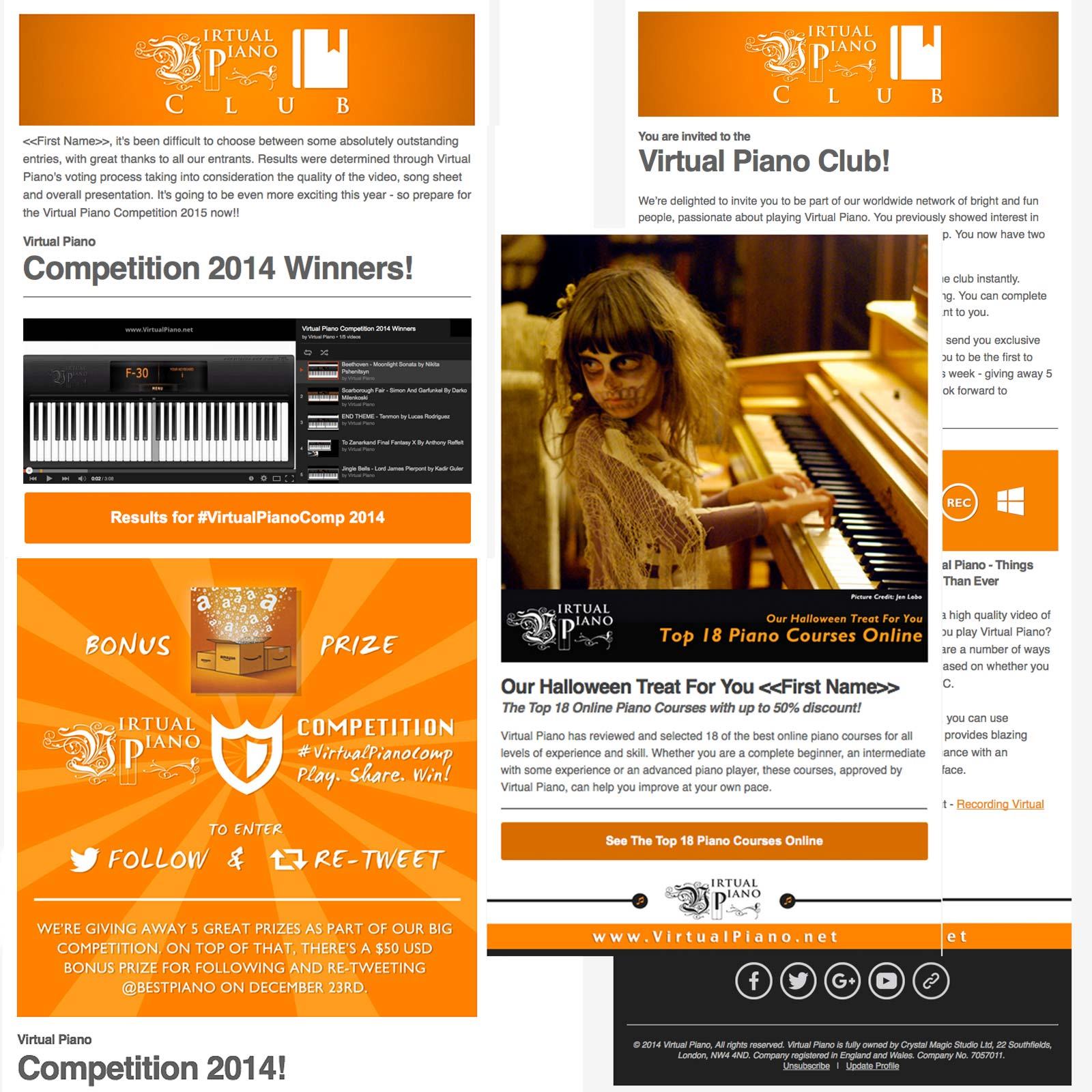 Email Newsletter Campaigns for online piano app, Virtual
