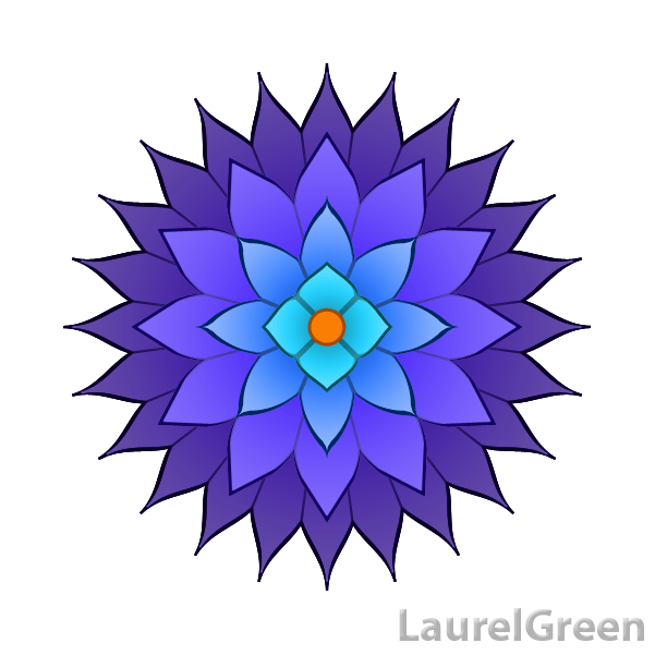 a blue vector image of a flower
