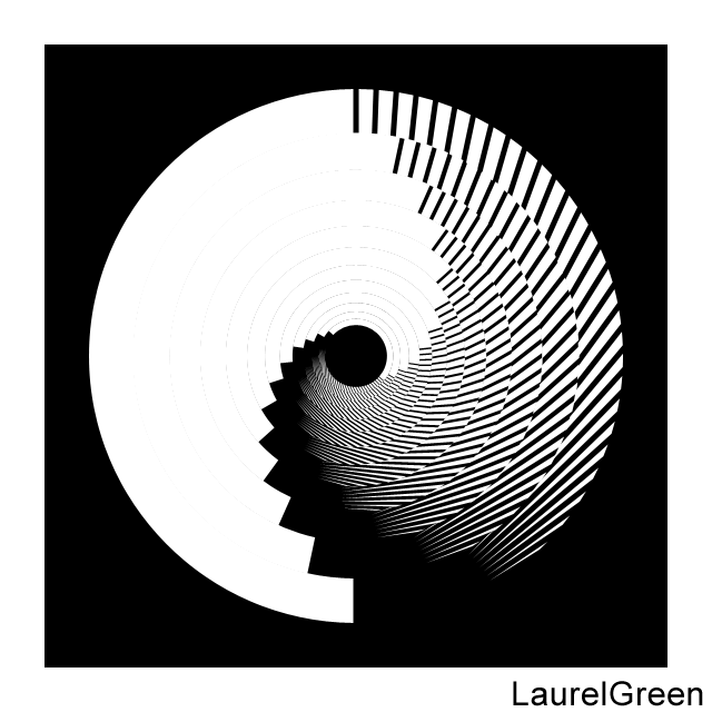 a black and white circle with lines removed from it and layers rotated by multiples of 12 degrees