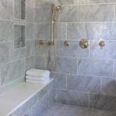natural stone tile in the shower