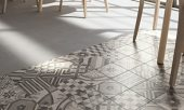 use patterned floor tile to create a