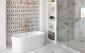 how to design a gray tile bathroom